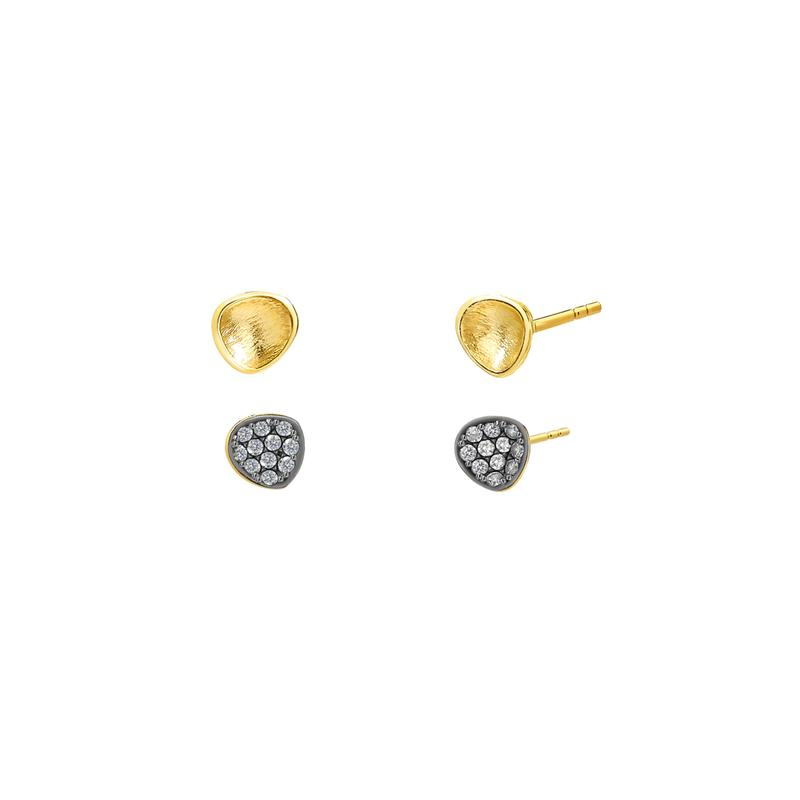 Nadri 18k Yellow Gold Plate Sirena Post Earrings Set with Cubic Zirconias
