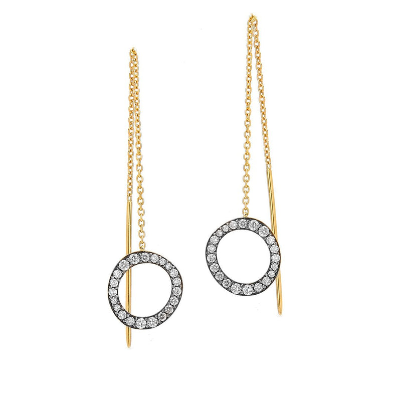 Nadri Sirena Pave Open Circle Threader Earrings in 18k Gold-Plate with Cubic Zirconias