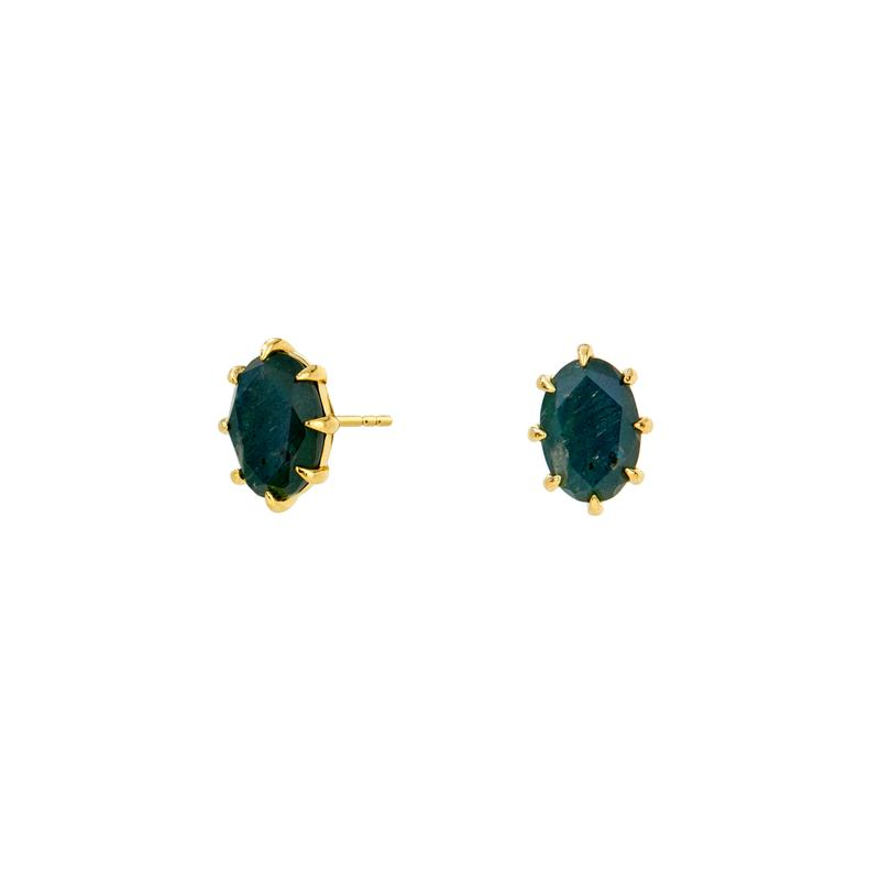 Nadri 18k Yellow Gold Plate Mari Labradorite Doublet Post Earrings