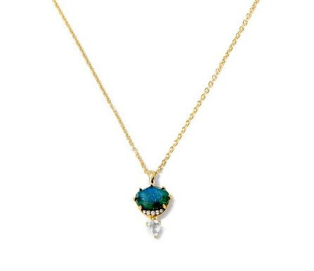 Nadri Mari Necklace with Labradorite & White Topaz in 18k Gold-Plate with Cubic Zirconias