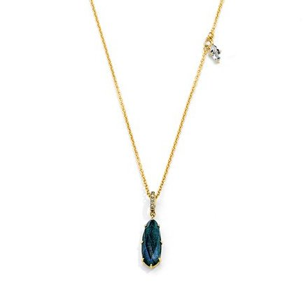 Nadri Mari Labradorite & White Topaz Necklace in 18k Gold-Plate with Cubic Zirconias