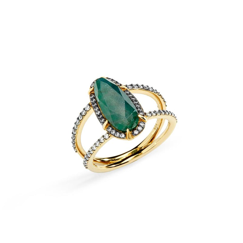 Nadri Jasmin Labradorite Ring in 18k Gold-Plate with Cubic Zirconias