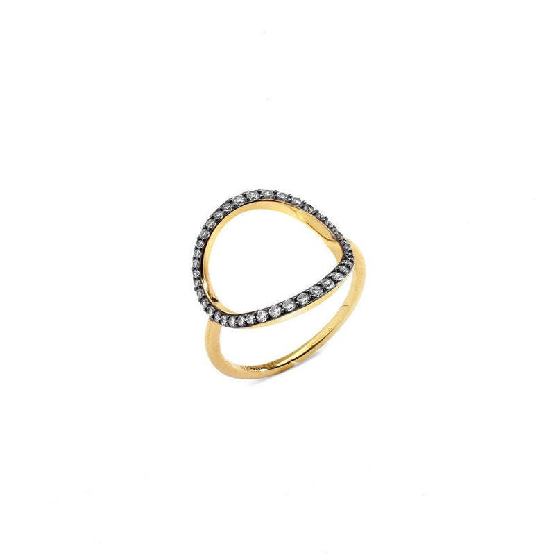 Nadri Villa Pave Open Circle Ring in 18k Gold-Plate with Cubic Zirconias