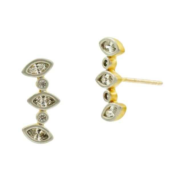 Freida Rothman Gold Vermeil and Cubic Zirconia Fleur Bloom Petal Ear Climbers