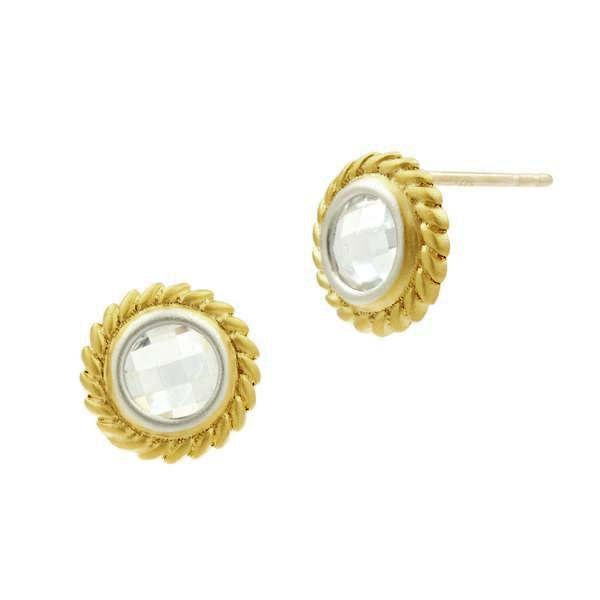 Freida Rothman Gold Vermeil and Cubic Zirconia Fleur Bloom Circular Earrings