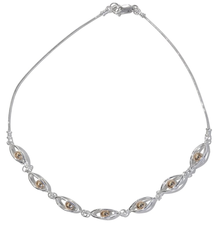 Betsy Frost Light Cage Necklace with Trapped Balls