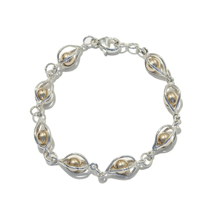 Betsy Frost Light Cage Bracelet with Trapped Balls