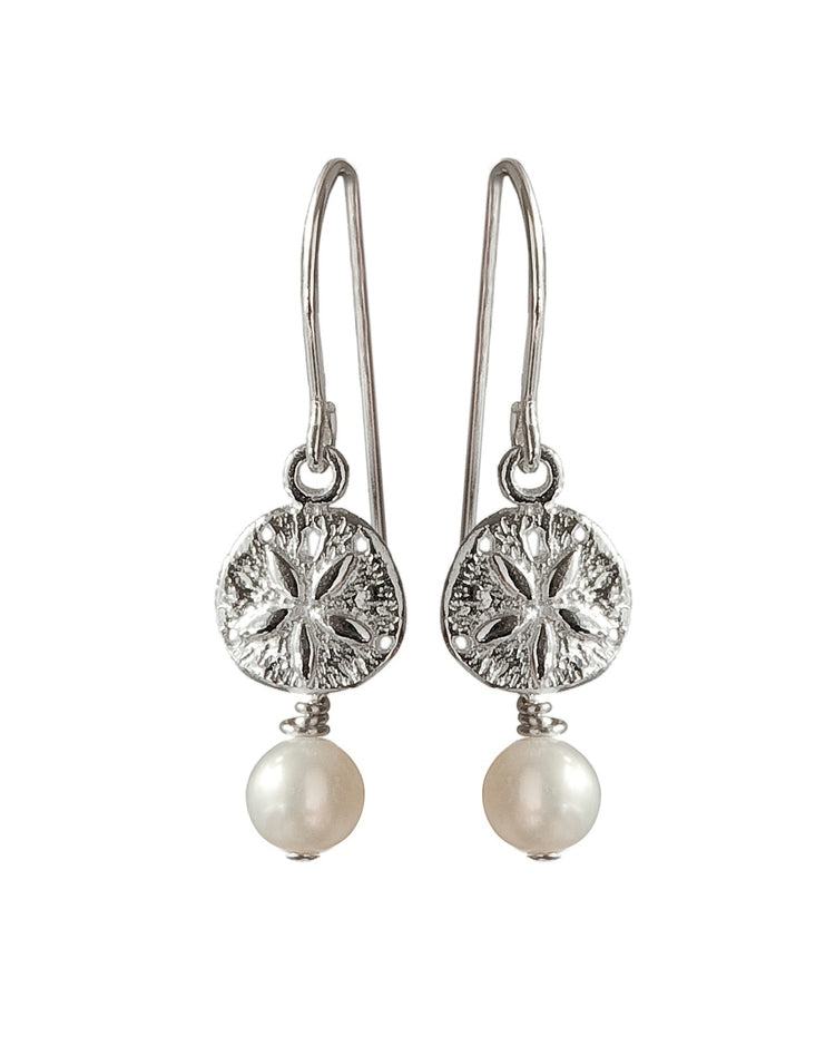 Sand Dollar Drop Earrings with Pearls