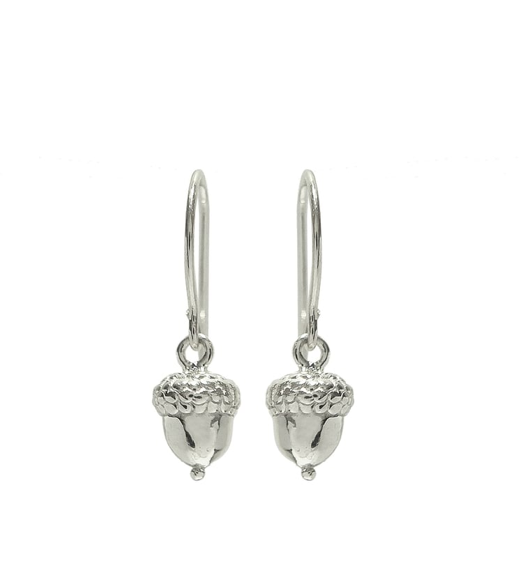Betsy Frost Small Sterling Silver Acorn Dangle Earrings