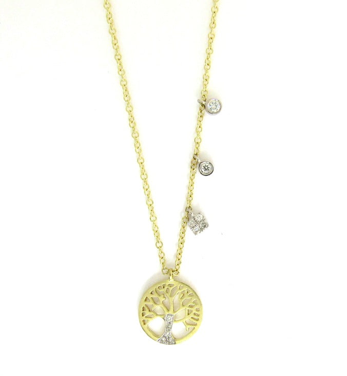 14k Gold Tree of Life Charm Necklace