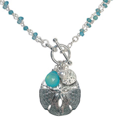 Betsy Frost Sterling Silver Sand Dollar and Chalcedony 2 in 1 Necklace