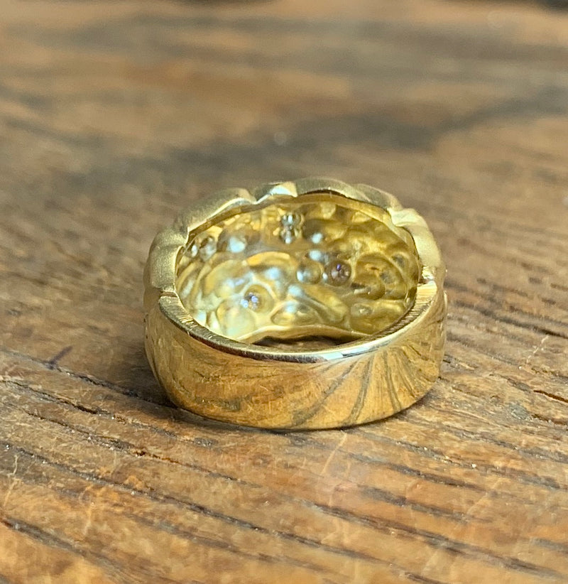 Carol Ackerman carved leaf motif dome ring in 18 karat yellow gold
