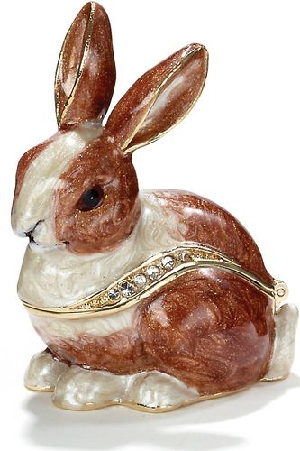 Kubla Crafts Enamel Brown Rabbit Box