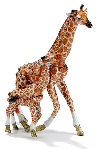 Kubla Crafts Enamel Mother Giraffe & Baby Box