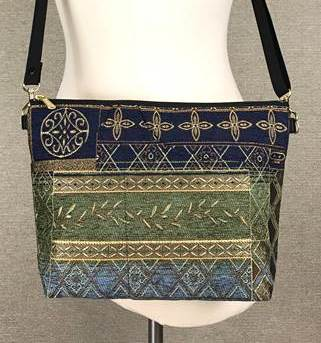 Danny K. Large Zipper Handbag in Neptune Blue Pattern