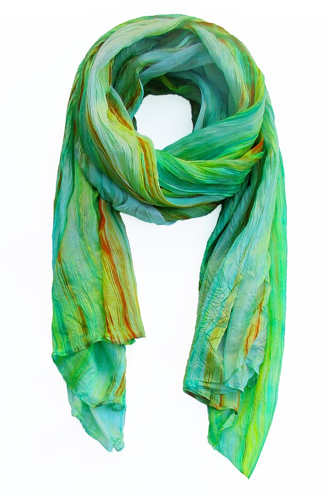Lua Hand Dyed Silk Scarf in Green/Rust