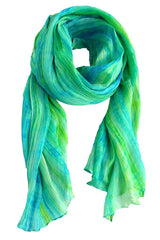 Lua Hand Dyed Silk Scarf in Blue/Bright Green