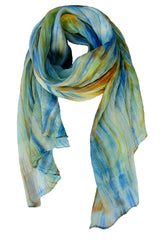Lua Hand Dyed Silk Scarf in Blue/Rust