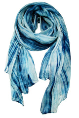 Lua Hand Dyed Silk Scarf in Denim/Ivory