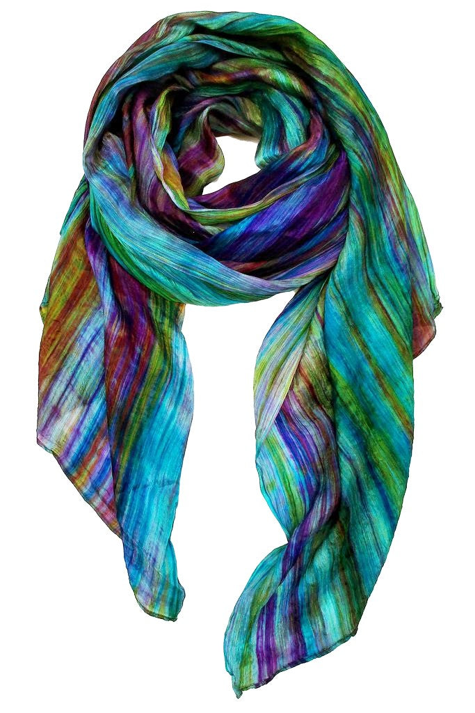 Lua Hand Dyed Silk Scarf in Teal/Plum
