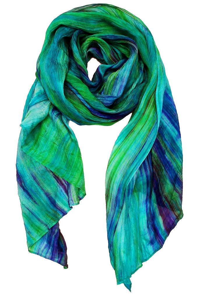 Lua Hand Dyed Silk Scarf in Green/Dark Purple