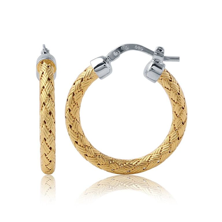 Charles Garnier 18k Yellow Gold Plate Milan Woven Hoop Earrings