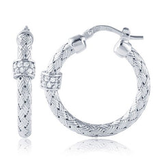 Charles Garnier Sterling Cubic Zirconia Torino Woven Hoop Earrings