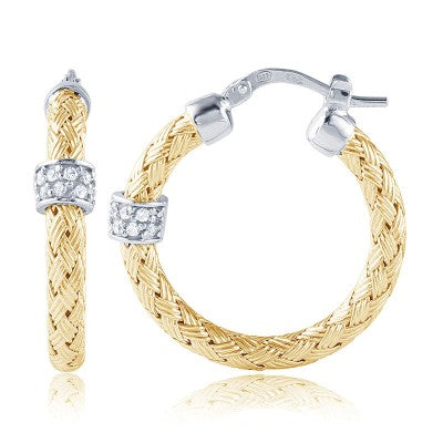 Charles Garnier 18k Yellow Gold Plate Cubic Zirconia Torino Woven Hoop Earrings