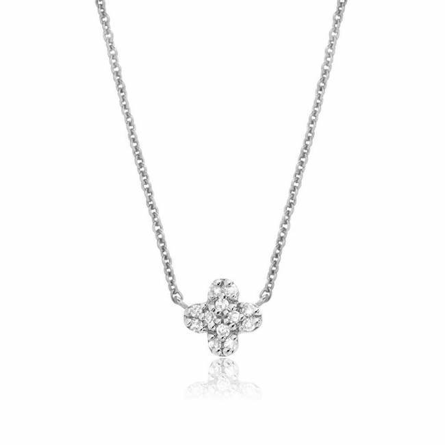 Liven Co. 14k White Gold Petite Diamond Clover Choker Necklace