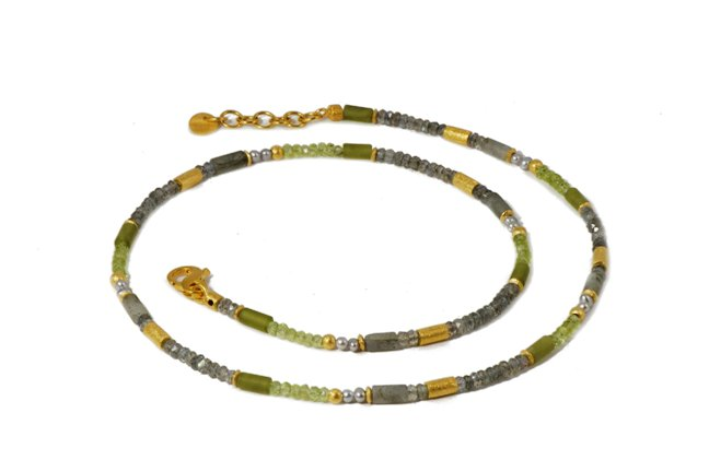 Beaded Gemstone Necklace with Labradorite, Peridot, Prehnite Beads