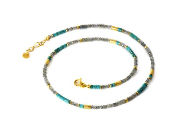 Beaded Gemstone Necklace with Labradorite and Turquoise Beads
