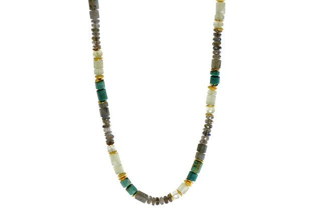 Beaded Gemstone Necklace with Labradorite, Chrysocolla, Prehnite Beads