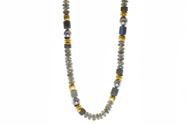 Beaded Gemstone Necklace with Labradorite and Grey Pearl Beads