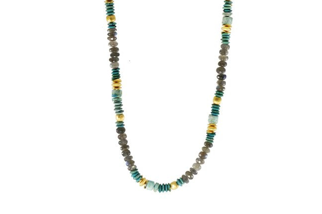 Beaded Gemstone Necklace with Labradorite, Turquoise, Chrysocolla Beads