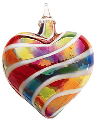 Glass Eye Studio Blown Glass Heart Ornament in Rainbow White Cane