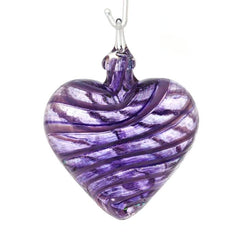 Glass Eye Studio Blown Glass Heart Ornament in Purple Jasmine