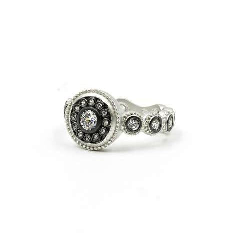 Freida Rothman Sterling Silver Nautical Button Stone Shank Ring