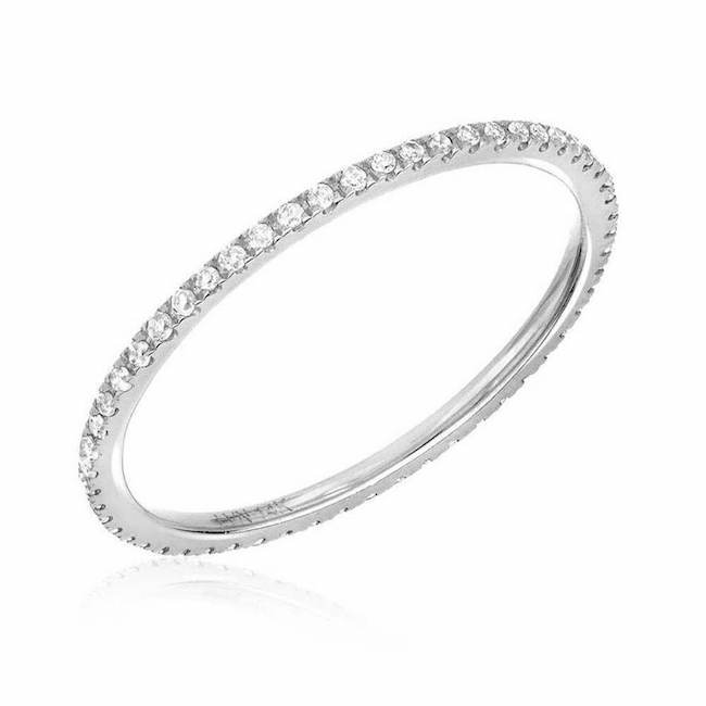 Liven Co. 14k White Gold Thin Diamond Eternity Band