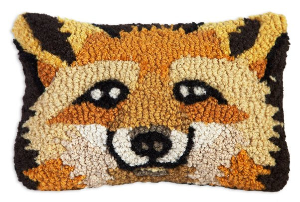 Chandler 4 Corners Fox Hooked Wool Pillow