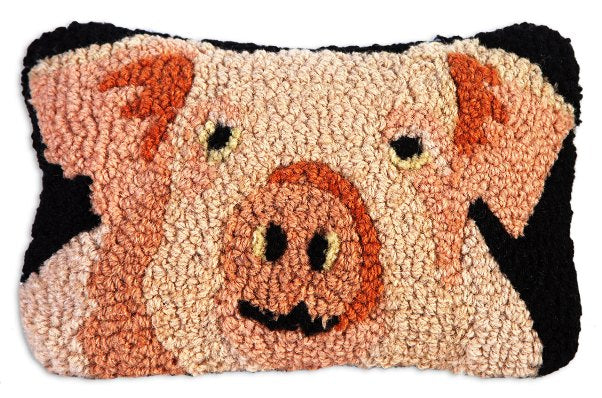 Chandler 4 Corners Pig Hooked Wool Pillow