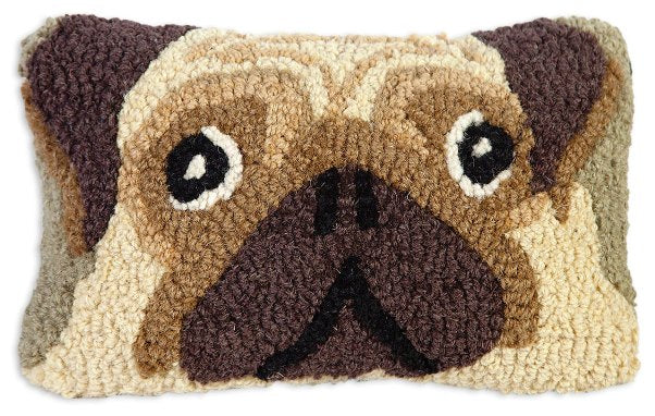Chandler 4 Corners Pug Hooked Wool Pillow