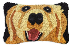 Chandler 4 Corners Golden Retriever Hooked Wool Pillow