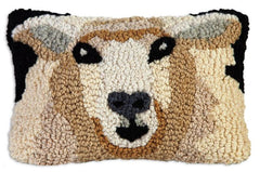 Chandler 4 Corners Sheep Hooked Wool Pillow