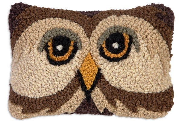 Chandler 4 Corners Owl Hooked Wool Pillow