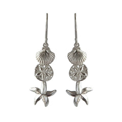 Betsy Frost Sterling Silver Sand Dollar, Starfish, Scallop Dangle Earrings