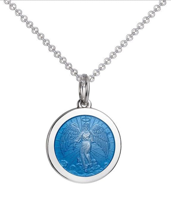 Colby Davis Medium Sterling Guardian Angel Pendant in French Blue Enamel on Chain