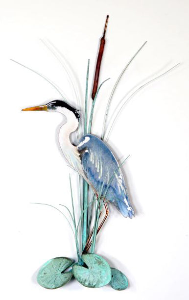 Bovano Enamel Blue Heron with Cattails Wall Decor