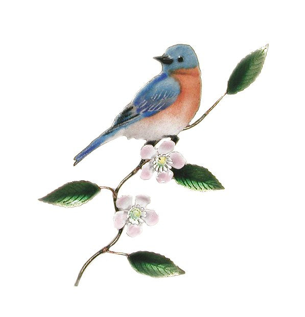 Bovano Enamel Eastern Bluebird on Apple Blossom Wall Decor