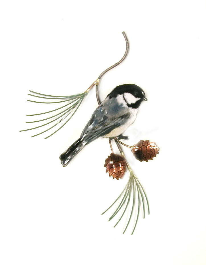 Bovano Enamel Chickadee on Pine Wall Decor