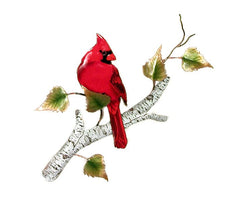 Bovano Enamel Cardinal on Birch Wall Decor